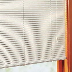 Privacy Aluminum Blinds In Bone No Holes Routless Close Up