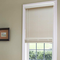 Cordless 1 1 2 faux wood blinds awardblinds for 15 inch window blinds