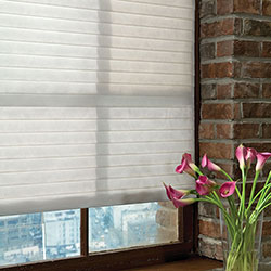 Designer Sheer Shades - Partially Raised & Tilted Closed
