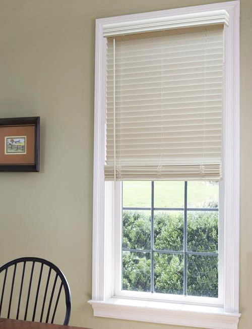 Cordless 1 1 2 faux wood blinds awardblinds for 2 faux wood window blinds