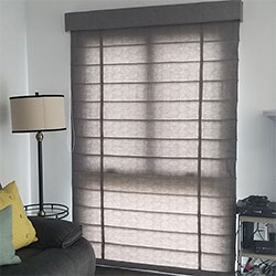 Premium Roman Shades - Continuous Cord Loop, Outside Mount, Light Filtering Liner, Wider than 48